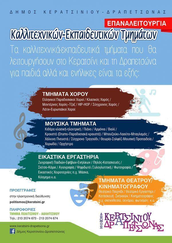 Επαναλειτουργία των Καλλιτεχνικών –Εκπαιδευτικών  Τμημάτων  του Δήμου Κερατσινίου-Δραπετσώνας